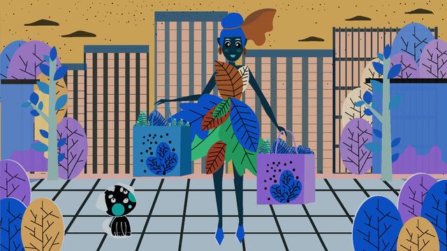 Double eleven fashion girl shopping scene 剁 hand illustration, Shopping, Girl, Cartoon illustration image