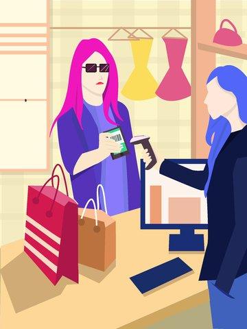 Shopping payment original illustration, Shopping, Payment, Qr Code illustration image