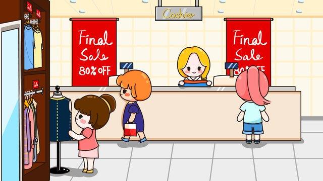 쇼핑 벡터 소녀 할인 장면 일러스트 레이션 삽화 소재