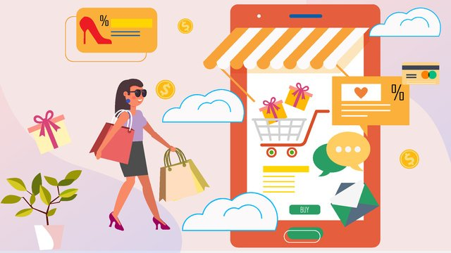 Shopping scene flat fashion online vector illustration, Shopping Scene, Flat, Fashion illustration image