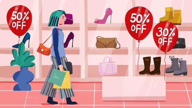 쇼핑 평면 그림 삽화 소재 삽화 이미지