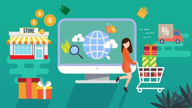 ショッピングシーズンオンラインショッピングシーンフラット風ベクトルイラスト イラスト素材
