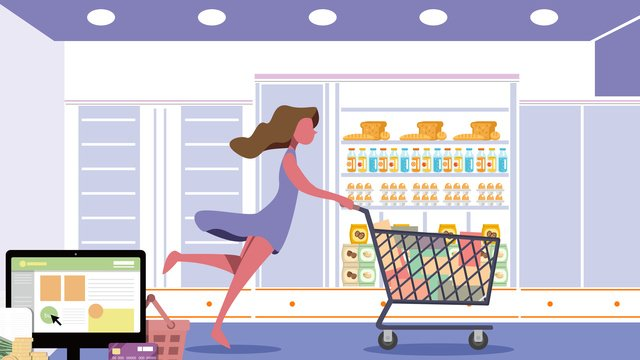 Shopping mall flat illustration, Shopping, The Mall, Flat Wind Illustration illustration image