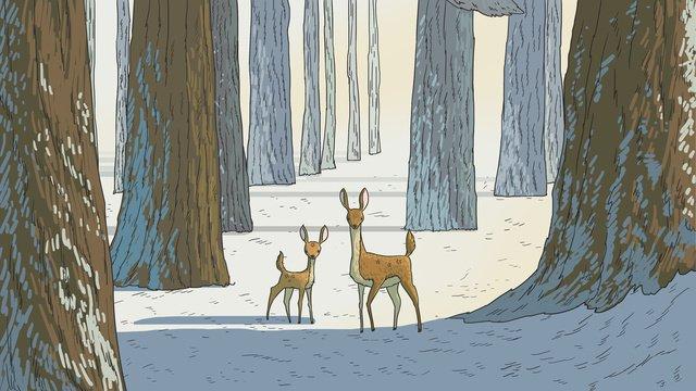 sika veados mãe e filho na neve Material de ilustração