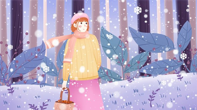 little snow chilly festival winter forest girl illustration llustration image illustration image