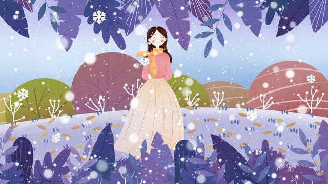 신선한 겨울 소녀 그림 삽화 소재