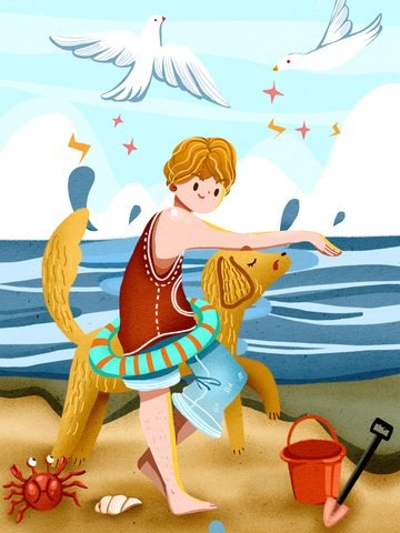 Singles boy playing on the beach with pet dog warm illustration llustration image illustration image