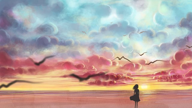 Original illustration of girl looking out to the sky, Sky, Girl Back, Seaside illustration image