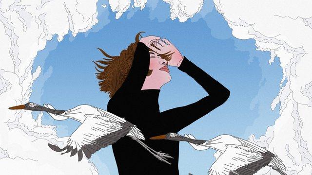 original girl looking at the sky winds up hand drawn illustration llustration image