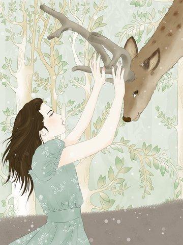 소녀와 포리스트의 사슴 손으로 그린 그림 삽화 소재