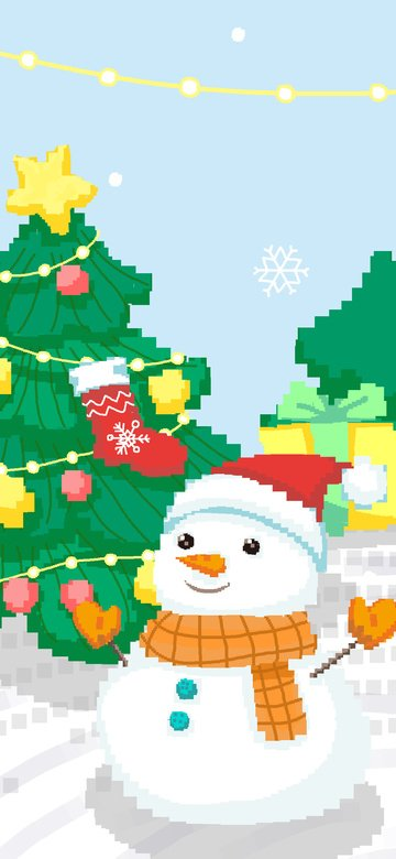 christmas snowman 80s retro pixel illustration next to snow tree llustration image