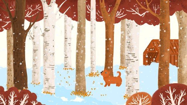 初雪の冬の風景画は小さくて新鮮です イラスト素材