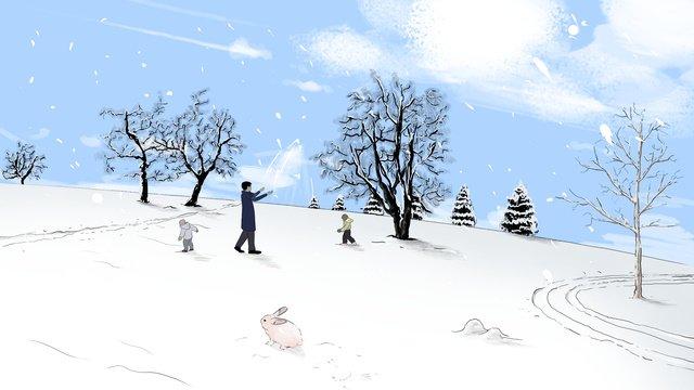 Оригинальная зимняя пьеса иллюстрация снежного пейзажа Ресурсы иллюстрации Иллюстрация изображения