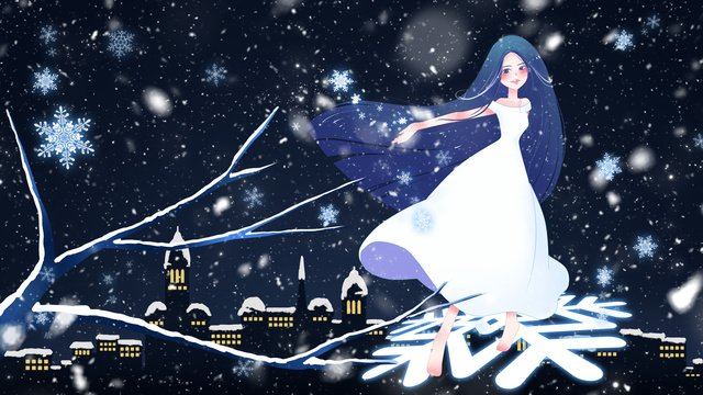 Little fresh illustration of girl on the night sky with snowflakes, Snow, Snowflake, Girl illustration image