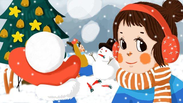 original illustration christmas we play snowballs together make a snowman llustration image