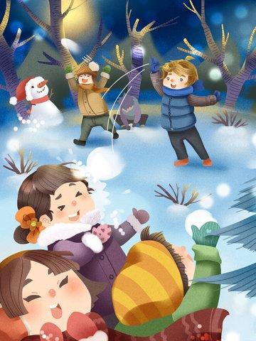 snowball boy và girl team cùng nhau chiến đấu tuyết hạnh phúc Hình minh họa Hình minh họa