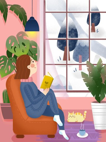 winter afternoon accompanied by a cat illustration image