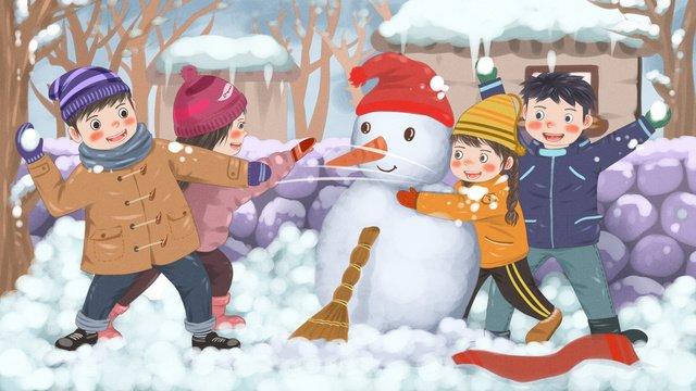 snowman playing snowball fight after snowing kids children illustration llustration image illustration image