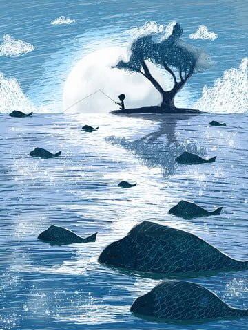 Coil illustration fishing under the moon, Sparkling, Fish School, Small Island illustration image