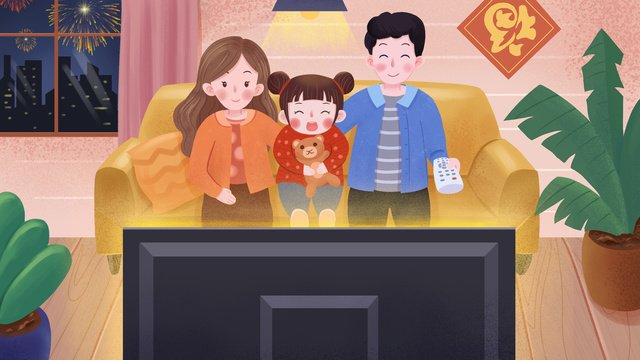 spring festival evening a family of three watching the night narrative illustration llustration image