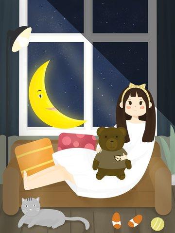 Girl holding the stars and moon saying good night creative illustration, Star, Girl, Moon illustration image