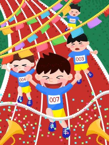 Student games racing campus life pixel illustrationTrường  Trung  Học PNG Và PSD illustration image