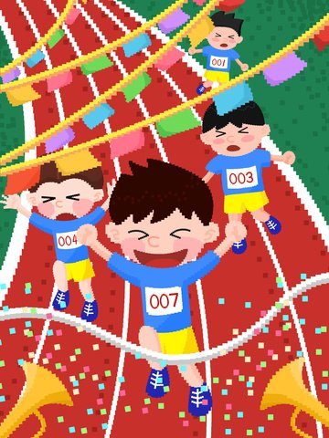 Student games racing campus life pixel illustration, Student, Sports Meeting, Race illustration image
