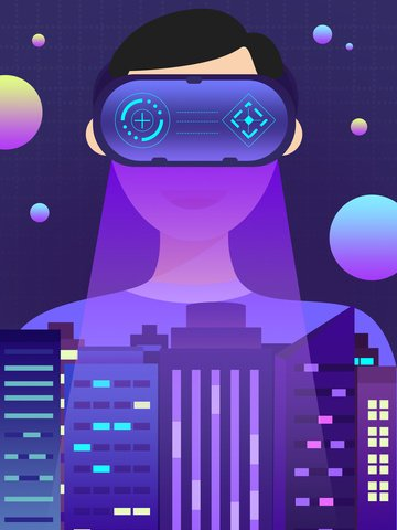 Purple flat technology future vr creative illustration, Technology, Future, Illustration illustration image