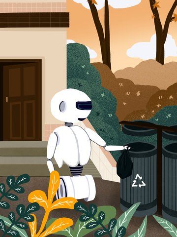Technology future robot assistant life illustration, Technology Future, Robot Life Assistant, Pour Garbage illustration image