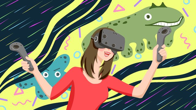 Technology future vr virtual reality experience games for girls llustration image illustration image