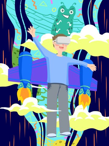Tech future vr virtual reality experience flying boy llustration image