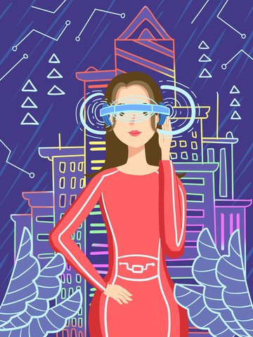 Technology future vr virtual reality experience city girl, Technology, Future, Vr illustration image