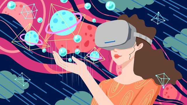 technology future vr virtual reality experience universe girl llustration image