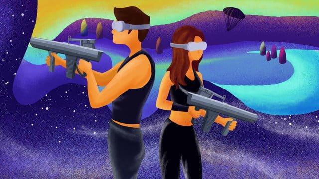 Технологии Будущее vr Виртуальные технологии shootout game illustration Ресурсы иллюстрации