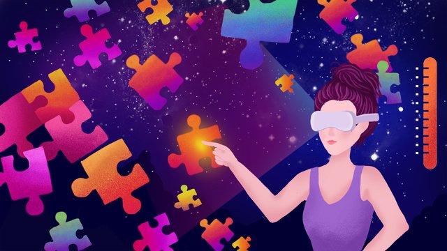 Технологии будущего виртуальной технологии vr Градиент игра головоломка Иллюстрация Ресурсы иллюстрации