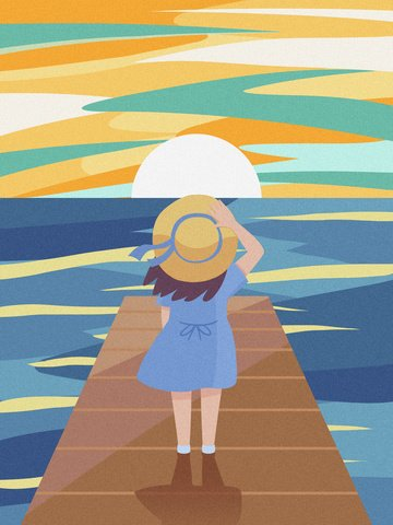 空を見て美しい夕日のテクスチャイラスト女の子 イラスト素材 イラスト画像