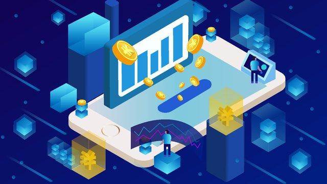 Internet finance bitcoin 2 5d mobile phone startup page illustrator llustration image