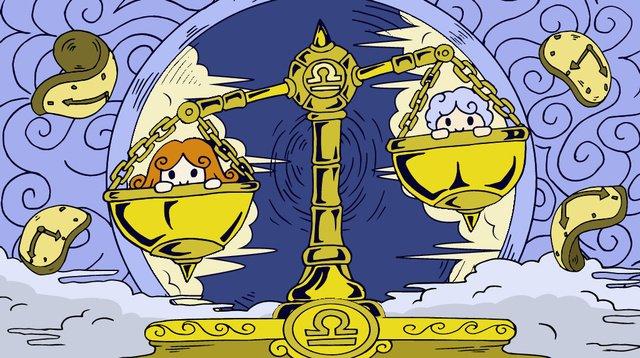 12 constellation libra disc men and women gold cloud time, Twelve Constellations, Libra, Disc illustration image