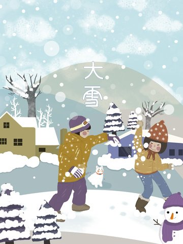 snowy child snowman snowball fight small fresh illustration in front of house llustration image
