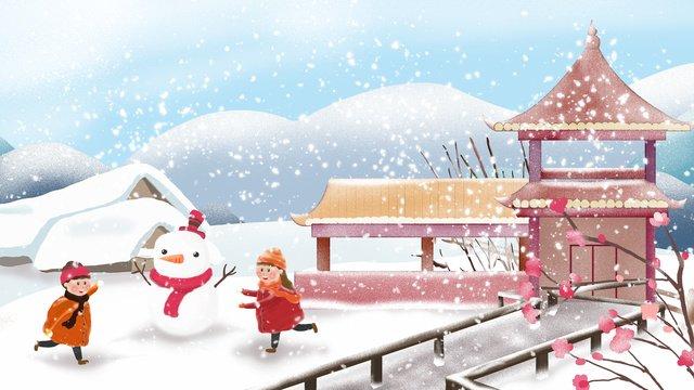 二十四節氣之大雪戶外玩耍的小孩 插畫素材