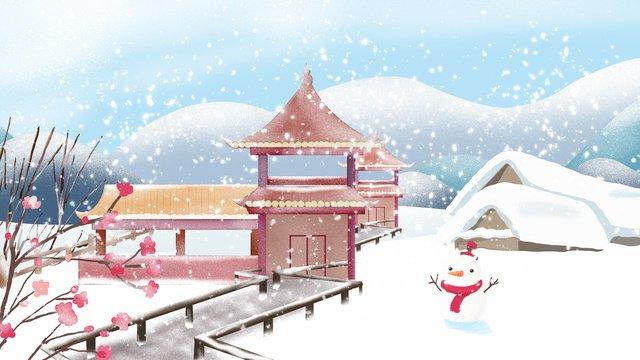 스물 넷 태양 용어 눈이 옥외 설경 삽화 소재 삽화 이미지