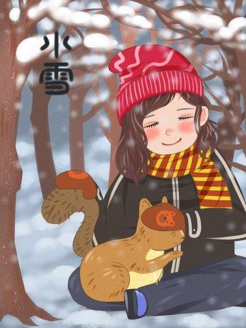 Flat illustration of little girl holding twenty suffocating snow squirrel llustration image illustration image