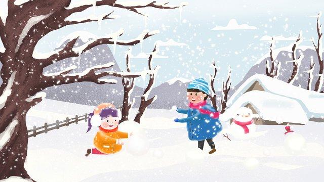 二十四節氣之小雪雪地上的小孩 插畫素材