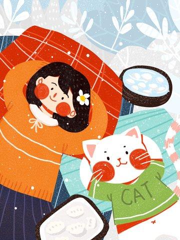 twenty four solar terms winter solstice girl cat dumplings cute original illustration llustration image illustration image