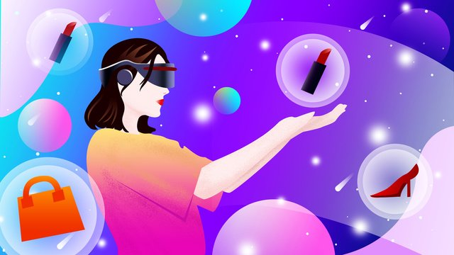 Оригинальная иллюстрация виртуальной реальности vr наслаждайтесь покупками Ресурсы иллюстрации Иллюстрация изображения