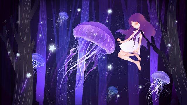 夜の森クラゲ女の子美しい小さな新鮮な通気性のあるイラスト イラストレーション画像 イラスト画像