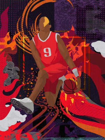 Wandering dream trend  fitness scene  illustration basketball llustration image