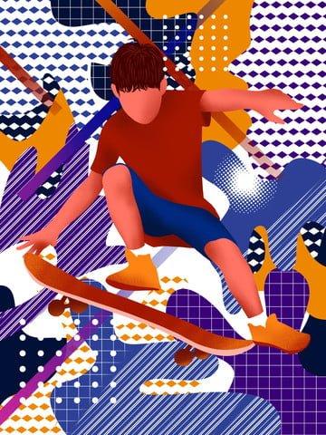 mimpi mengembara skateboarding boy melanda ilustrasi warna imej keterlaluan imej ilustrasi