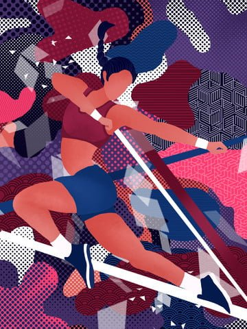 遊走的夢運動系少女抽象插畫 插畫素材
