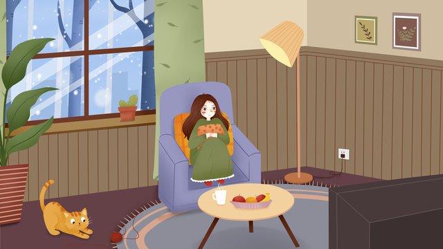 겨울 실내 어린 소녀 그림 삽화 소재 삽화 이미지